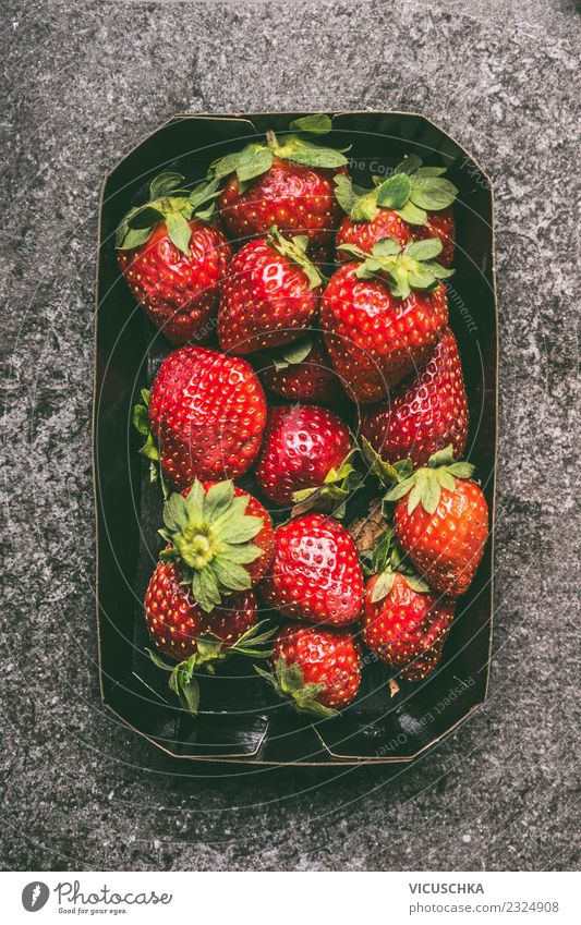 strawberries Food Fruit Nutrition Organic produce Vegetarian diet Diet Shopping Style Design Healthy Healthy Eating Summer Container Vitamin Strawberry