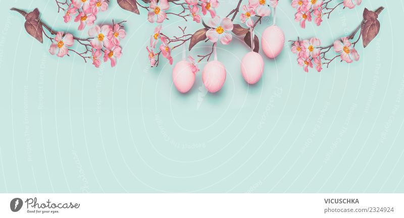 Plant Blue Flower Leaf Wall (building) Blossom Background picture Spring Style Feasts & Celebrations Pink Design Decoration Sign Easter Symbols and metaphors