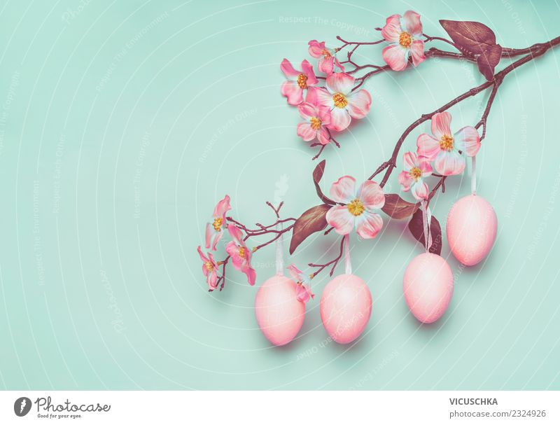 Blossom Background picture Style Pink Design Decoration Sign Easter Symbols and metaphors Turquoise Egg Easter egg Pastel tone Twigs and branches Suspended