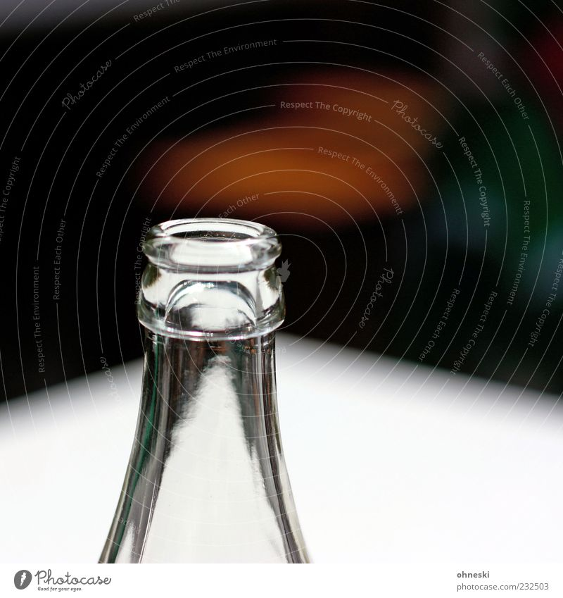 White Glass Beverage Empty Without Bottle Transparent Vertical Thirst Partially visible Neck of a bottle Cold drink Glassbottle Deposit on bottles