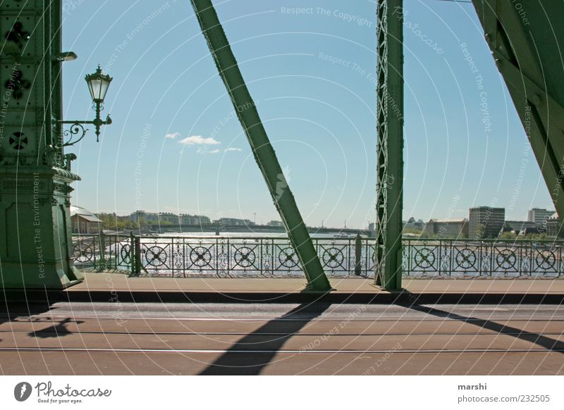 Paths over bridges Capital city Old town Bridge Manmade structures Architecture Tourist Attraction Landmark Blue Green Bridge railing Bridge pier Sky Danube