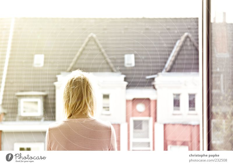 Human being Woman City House (Residential Structure) Calm Adults Relaxation Feminine Window Head Dream Bright Contentment Blonde Flat (apartment) Facade