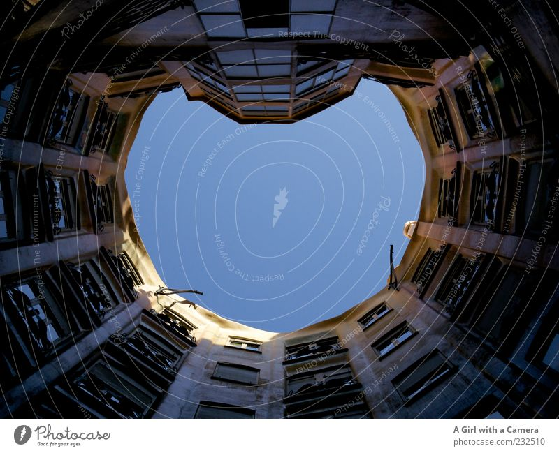 Up! Beautiful weather Barcelona Spain Catalonia Old town Manmade structures Building Architecture Tourist Attraction Casa Milà - La Pedrera Authentic