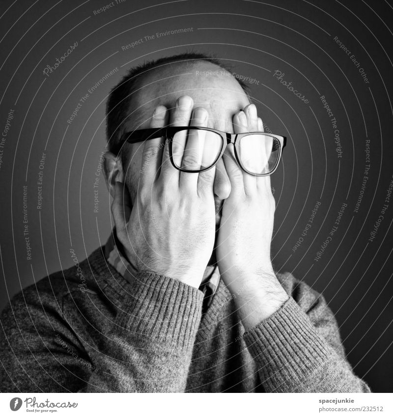 shy Human being Masculine Man Adults Head Hand 1 30 - 45 years Cry Disappointment Loneliness Perturbed Timidity Mysterious Eyeglasses Person wearing glasses