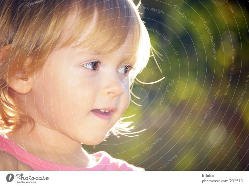Princess Sunbeam Child Girl Infancy Life Head 1 Human being 1 - 3 years Toddler Gold Green Pink Exterior shot Looking away Cute Blonde Girl`s face Small