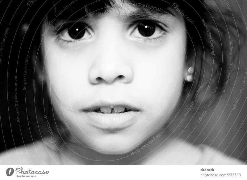 uncertainty Child Girl Infancy Face 1 Human being 3 - 8 years Looking Black White Fear Loneliness Nostalgia Innocent Doubt Black & white photo Interior shot