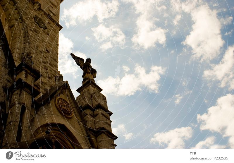 Sky Clouds Architecture Stone Religion and faith Art Authentic Decoration Church Angel Infinity Firm Beautiful weather Monument Statue Tourist Attraction