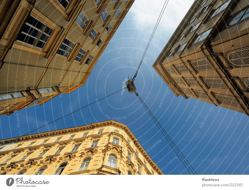 Blue City House (Residential Structure) Yellow Wall (building) Architecture Wall (barrier) Building Facade Car Window Steel cable Lantern Downtown Capital city Vienna Blue sky