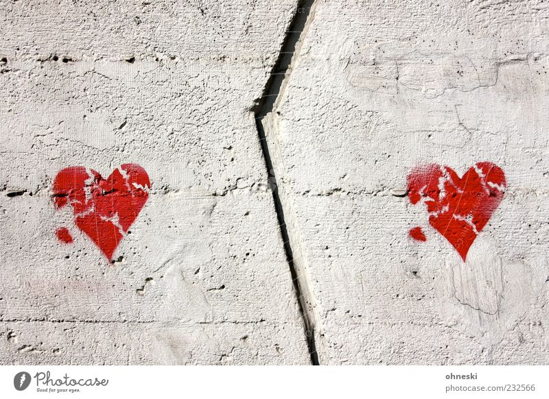 Red Wall (building) Graffiti Gray Wall (barrier) Building Together Facade Heart Concrete Manmade structures Sign Pain Broken Divide Distress