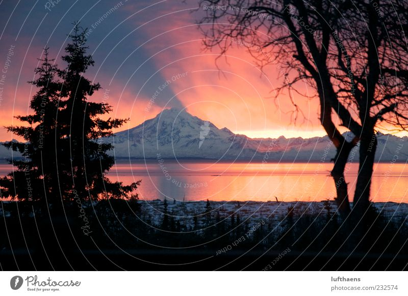 Nature Water Vacation & Travel Red Ocean Winter Black Landscape Mountain Tourism Esthetic Travel photography Gigantic Volcano Sunrise Alaska
