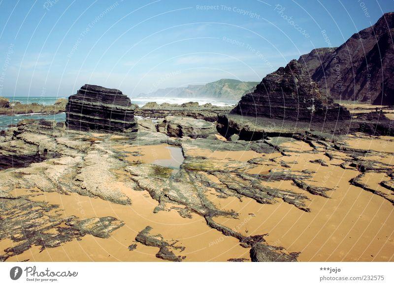 oceanic. Praia do Castelejo Vacation & Travel Portugal Atlantic Ocean Rock Coast Rocky coastline Sparse Landscape Force of nature Nature Reef Sand Sandstone