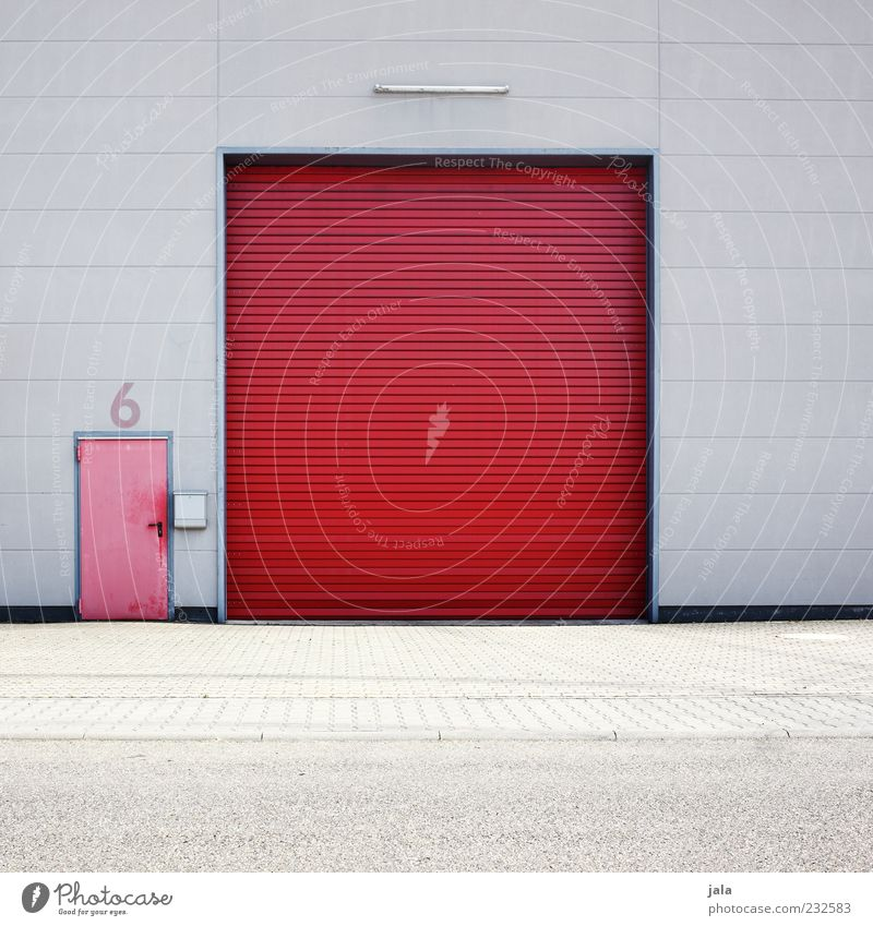 6 Industrial plant Factory Manmade structures Building Architecture Wall (barrier) Wall (building) Facade Door Gate Gray Red Colour photo Exterior shot Deserted