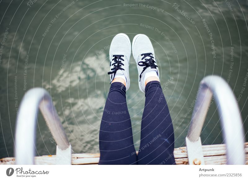 Feet dangling off the dock Footwear Sneakers Water Dock Wood Sock Leggings Beach Shoelace Vacation & Travel Woman 18 - 30 years Youth (Young adults) Dangle Sit