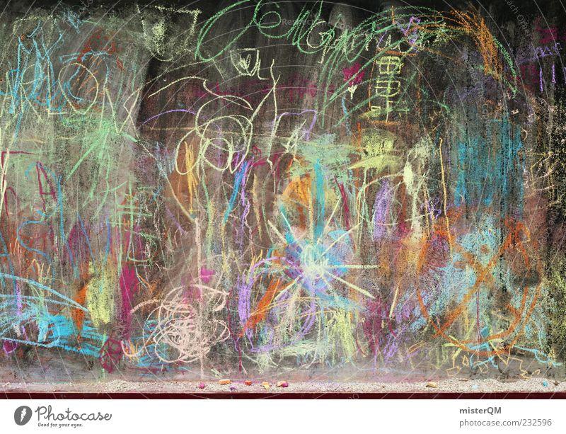 Children's playground. Esthetic Painting (action, artwork) Kindergarten Children's game Chalk Scribbles Creativity Idea Sun Fantasy Fantastic landscape Infancy