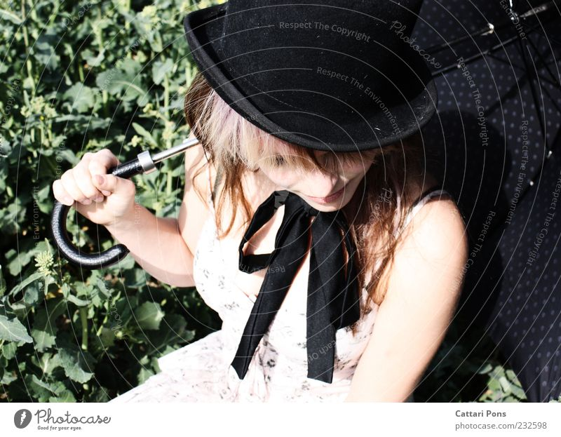 White Rabbit Style Feminine Young woman Youth (Young adults) Woman Adults 1 Human being Dress Bow Hat Umbrella Sunshade To hold on Crouch Sit Wait Thin Pallid