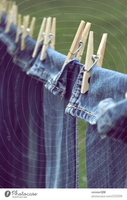 Blue Esthetic Clothing Jeans Pants Denim Dry Holder Hang up Clothesline Clothes peg Washing day Denim blue