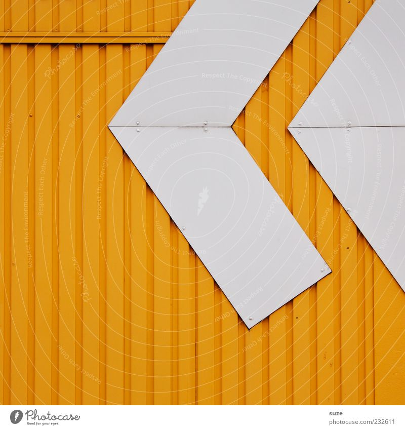 replay Style Design Architecture Facade Line Arrow Authentic Sharp-edged Simple Modern Point Yellow White Wall (building) Container Corrugated sheet iron