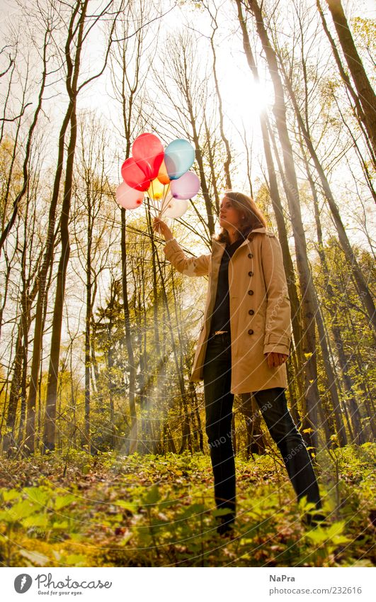 Human being Nature Youth (Young adults) Tree Plant Sun Summer Calm Forest Environment Happy Spring Feasts & Celebrations Contentment Decoration Balloon