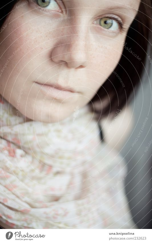 Human being Woman Youth (Young adults) Face Adults Feminine Pink 18 - 30 years Young woman Soft Delicate Brunette Freckles Scarf Partially visible Black-haired