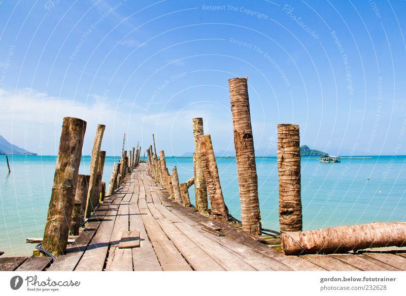 Sky Blue Water Summer Ocean Beach Clouds Far-off places Yellow Landscape Wood Coast Brown Island Bridge Harbour