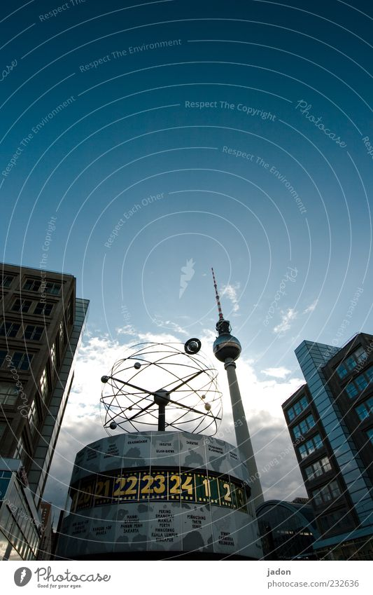 House (Residential Structure) Berlin Stone Time Facade Tall Large Clock Tourism High-rise Future Tower Round Communicate Telecommunications Long