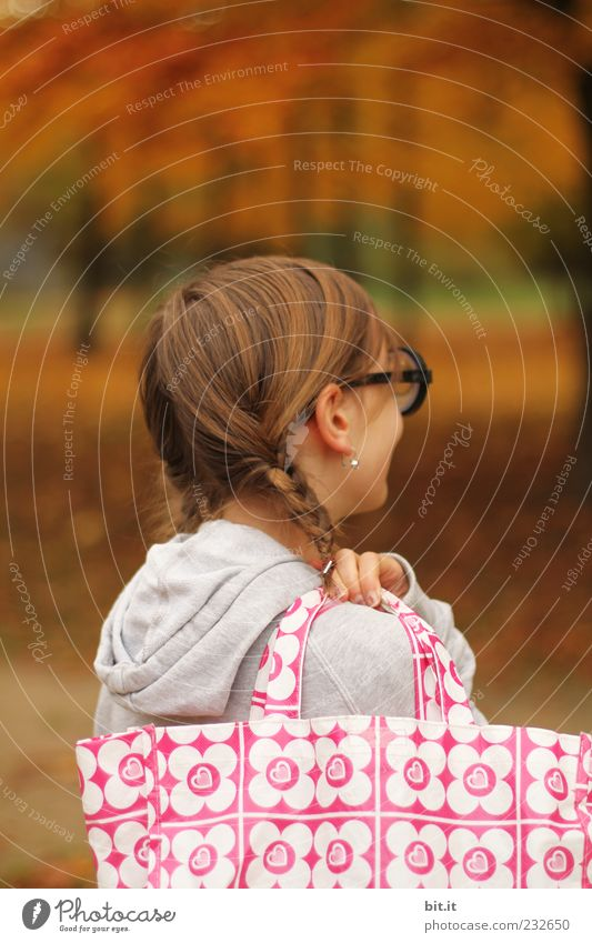 Human being Child Nature Tree Girl Joy Forest Autumn Feminine Hair and hairstyles Happy Infancy Uniqueness Joie de vivre (Vitality) Student Brunette