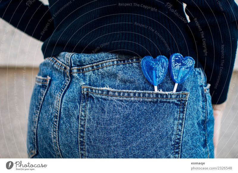 Jeans with blue Lollipop Youth (Young adults) Young woman Blue Colour Joy Girl Lifestyle Healthy Love Feminine Freedom Fashion Friendship Infancy Creativity