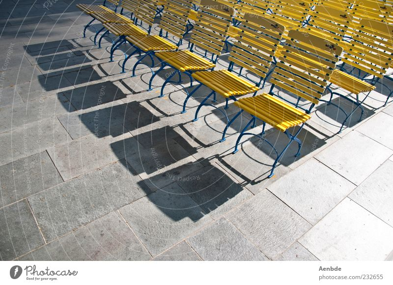 there are still places available... Event Stone Esthetic Blue Yellow Chair Colour photo Exterior shot Deserted Morning High-key Bird's-eye view Row of chairs
