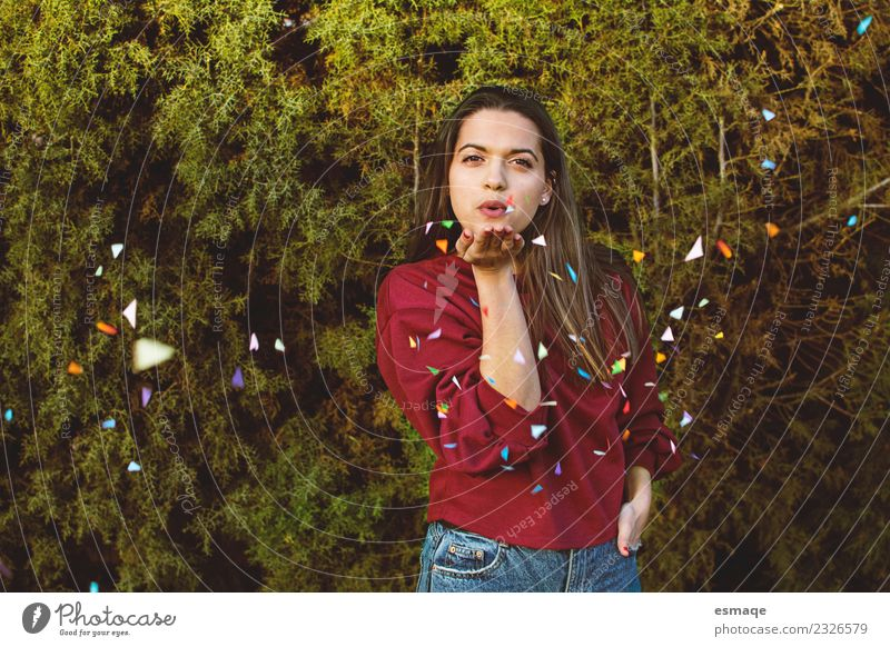 teenager blowing confetti on nature background Youth (Young adults) Young woman Beautiful Colour Joy Girl Lifestyle Healthy Funny Natural Happy Contentment