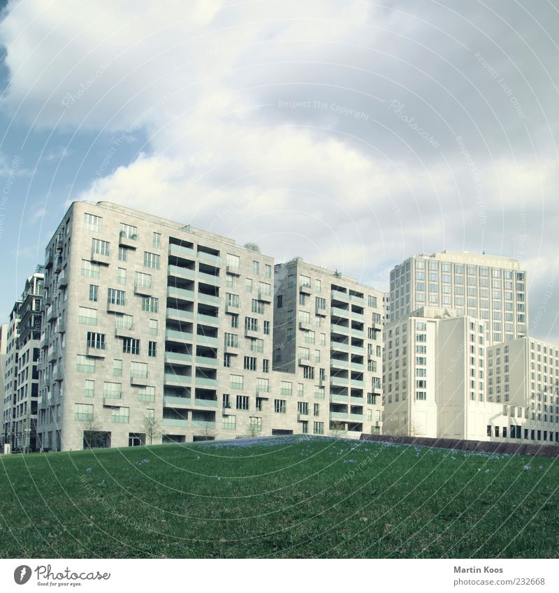 Sky City Clouds Meadow Berlin Architecture Gray Building High-rise Gloomy Luxury Downtown Downtown Berlin Capital city Prefab construction
