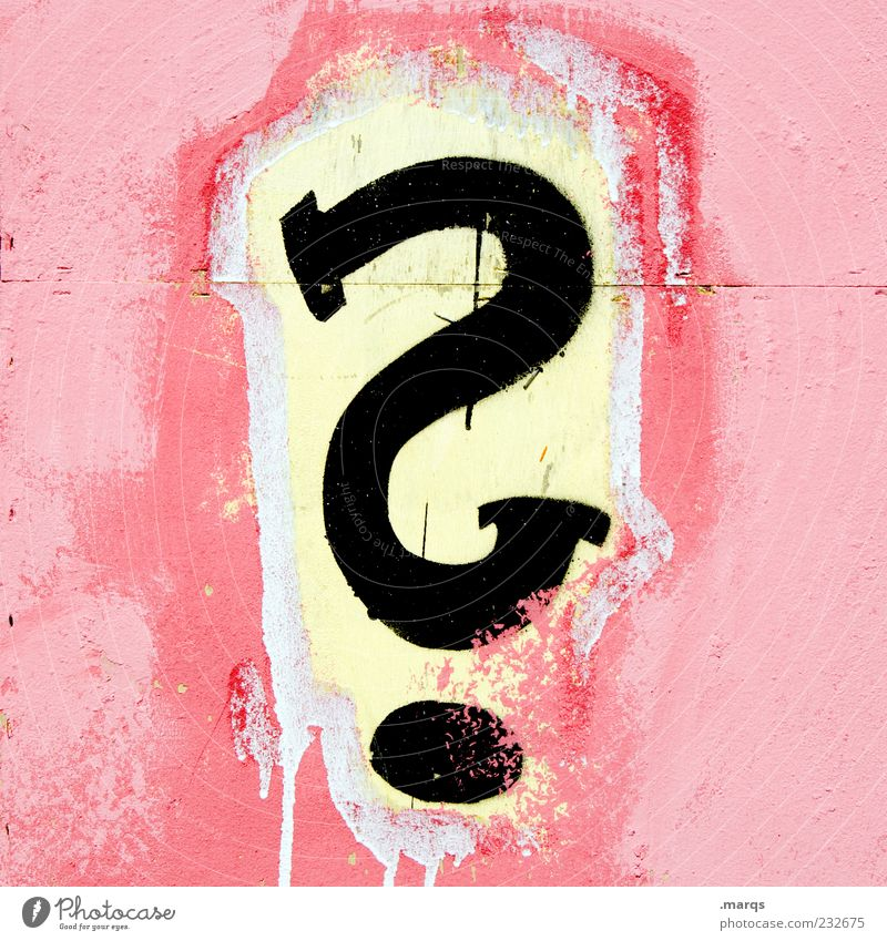 Colour Wall (building) Graffiti Wall (barrier) Pink Characters Communicate Future Uniqueness Sign Ask Puzzle Ambiguous Doubt Subculture Mistrust