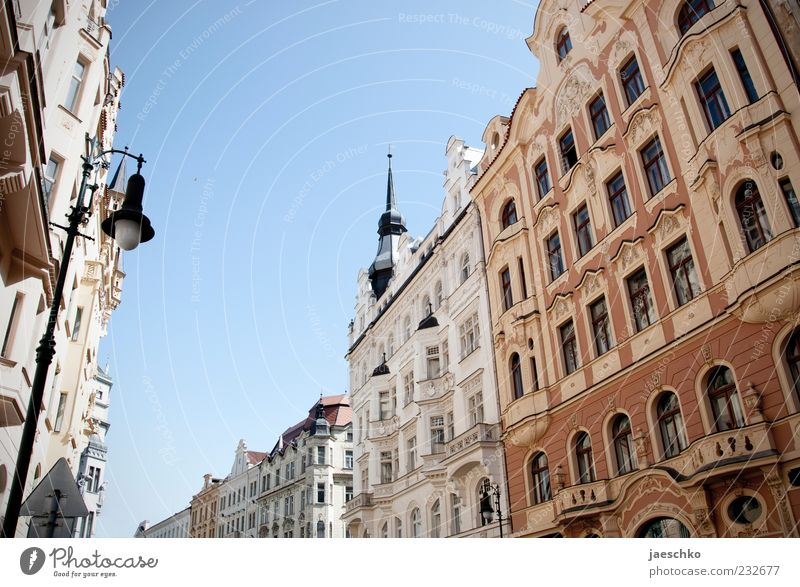 City House (Residential Structure) Architecture Bright Facade Tourism Europe Historic Downtown Gothic period Old town Old building Prague City trip Line
