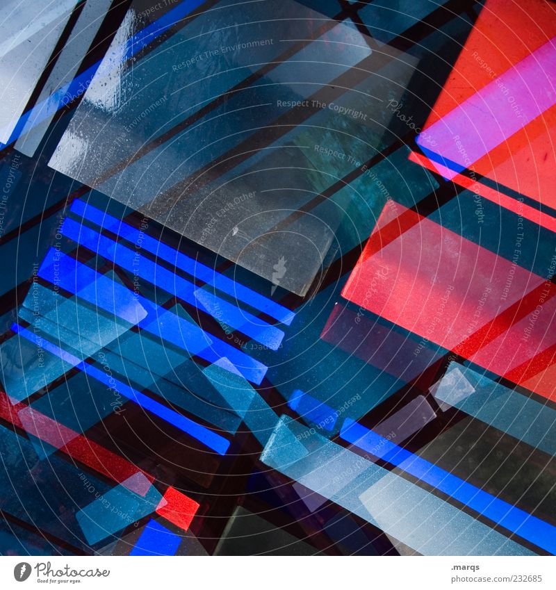 merged Lifestyle Style Design Art Glass Line Illuminate Exceptional Cool (slang) Hip & trendy Uniqueness Blue Red Chaos Colour Surrealism Mosaic Modern Light