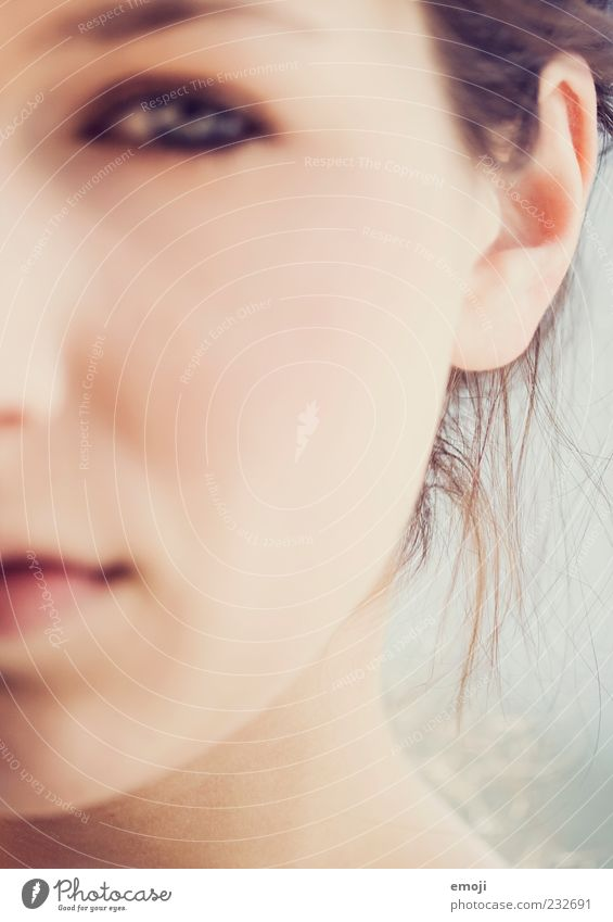 - Feminine Young woman Youth (Young adults) Skin Head Face 1 Human being 18 - 30 years Adults Soft Ear Skeptical Colour photo Exterior shot Blur
