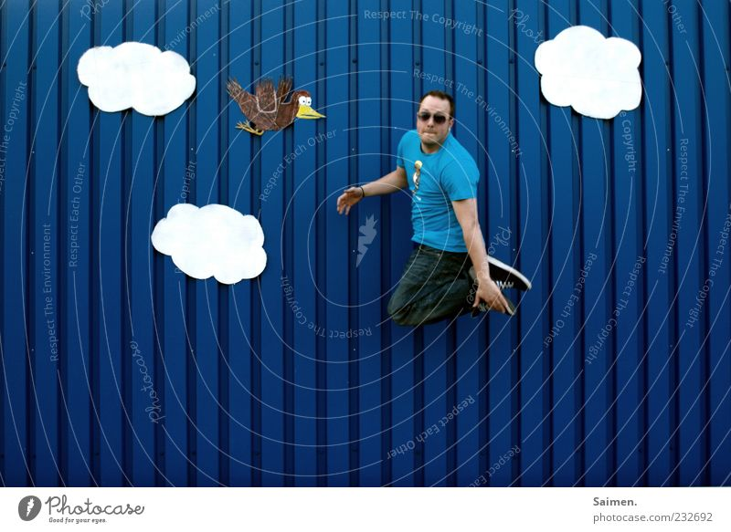 Blue Joy Clouds Wall (building) Freedom Movement Happy Jump Wall (barrier) Moody Bird Contentment Facade Flying Tall Happiness