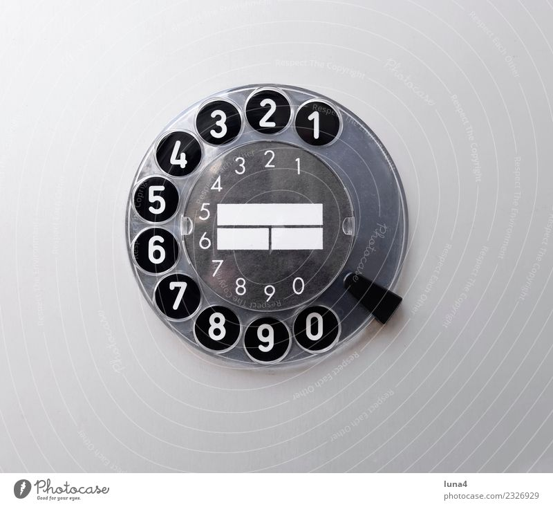 analogue dial Telecommunications Telephone Technology Digits and numbers Select Historic Retro Gray Black White Nostalgia Past Rotary dial technique Analog