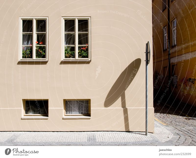 City House (Residential Structure) Street Window Flat (apartment) Facade Car Window Living or residing Clean Simple Village Sidewalk Cobblestones Pavement Boredom Surrealism