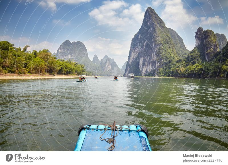 Li River bamboo raft from Guilin to Xingping, China. Relaxation Vacation & Travel Tourism Trip Adventure Freedom Sightseeing Expedition Summer Mountain Nature