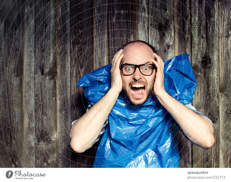 Human being Man Blue Hand Adults Movement Masculine Exceptional Eyeglasses Trash Creepy Scream Whimsical Fear of the future Facial expression Freak