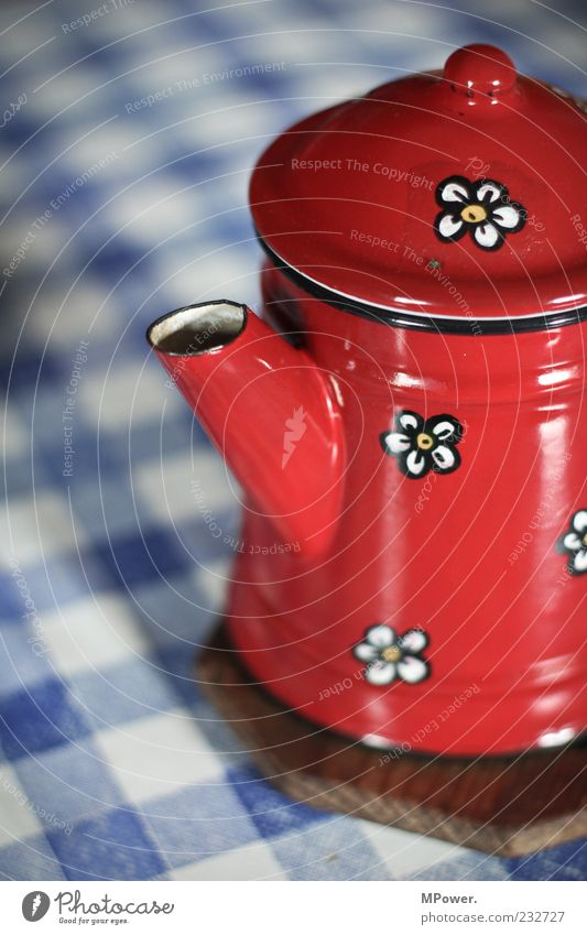 pot of coffee Metal Teapot Coffee pot Red Blue White Coaster Jug Pattern Coffee break Hot drink Quaint Old Colour photo Interior shot Close-up Detail Day Blur