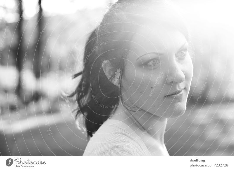 Young woman looking away in the evening light Feminine Youth (Young adults) 1 Human being 18 - 30 years Adults Sunlight Looking Black & white photo