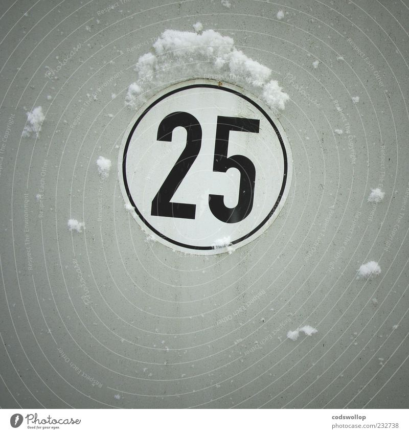 White Christmas Winter Weather Snow Digits and numbers Cold Design 2 5 twenty-five Speed limit December Signage Round 2525 Gray Exterior shot Detail Deserted