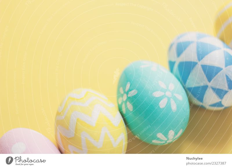 Pastel and colorful cute easter eggs Lifestyle Design Joy Summer Decoration Feasts & Celebrations Easter Art Spring Love Bright Hip & trendy Cute Retro Blue