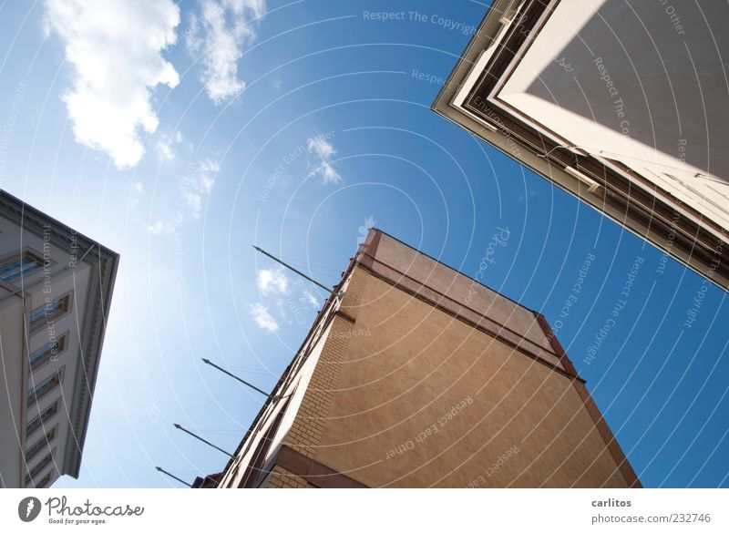 Blue Clouds House (Residential Structure) Window Wall (building) Architecture Wall (barrier) Facade Esthetic Beautiful weather Brick Tilt Flagpole Cloudless sky