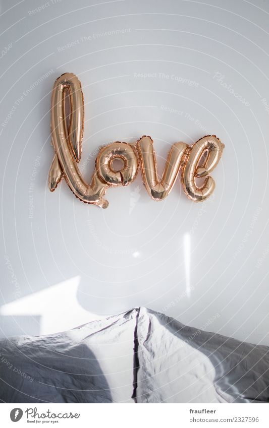 love Lifestyle Style Design Flat (apartment) Interior design Decoration Bed Room Bedroom Balloon Gold Characters Love Emotions Moody Relationship Sex Sexuality
