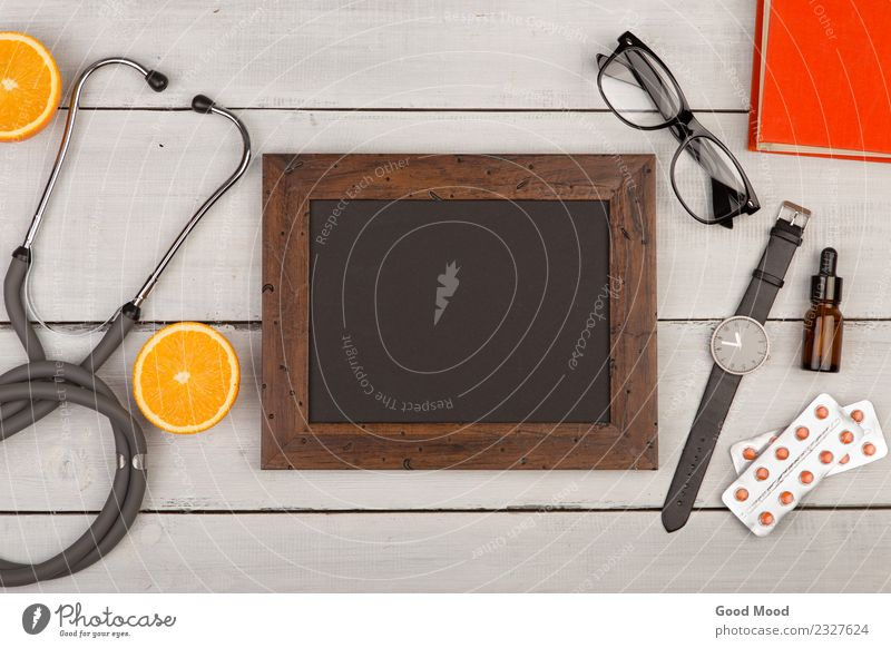 blank blackboard, pills, book, stethoscope, eyeglasses Lifestyle Health care Medical treatment Illness Medication Table Blackboard Doctor Hospital Business Book