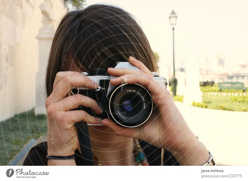 Youth (Young adults) Photography Uniqueness Camera Make Brunette Photographer Take a photo Lens Release Focus on Retentive