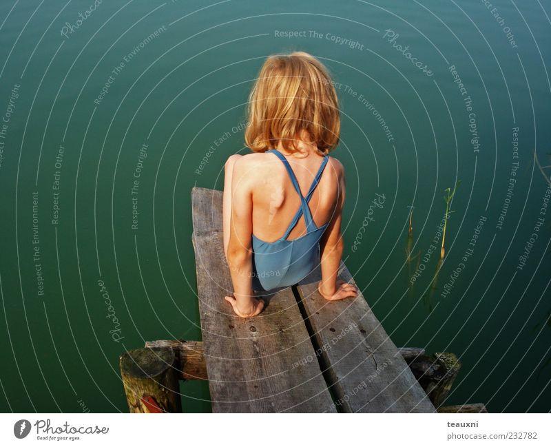 Human being Child Blue Water Green Girl Summer Feminine Infancy Sit Swimming & Bathing Wait Trust Lakeside Brave Footbridge