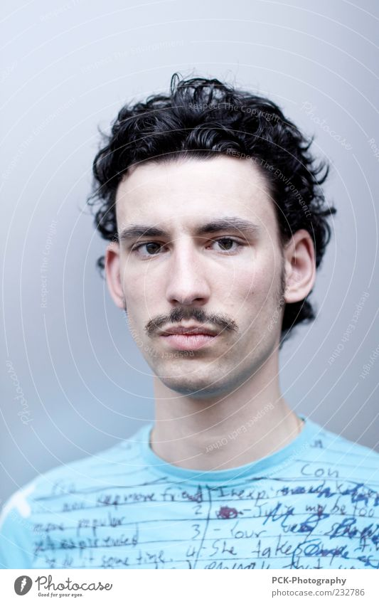 Human being Man Youth (Young adults) Adults Curl Facial expression Young man Earnest Moustache Short-haired Dark-haired Face of a man
