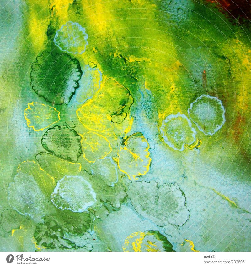 Blue Green Yellow Dye Art Drop Creativity Abstract Painting and drawing (object) Dried Play of colours Culture Colour palette
